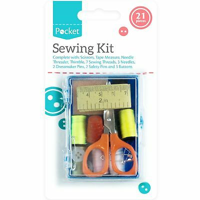 21pc Sewing Kit Set Travel Case Needle Pins Buttons Threader Thread Fasteners