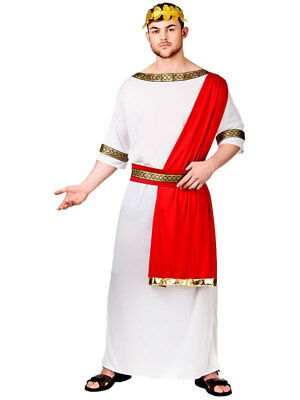 Mens Caesar Roman Greek Emperor Toga Fancy Dress Costume Adult Outfit M - XL