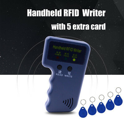 125Khz Handheld RFID ID Card Reader Copier Writer Duplicator W/5 White Card Blue