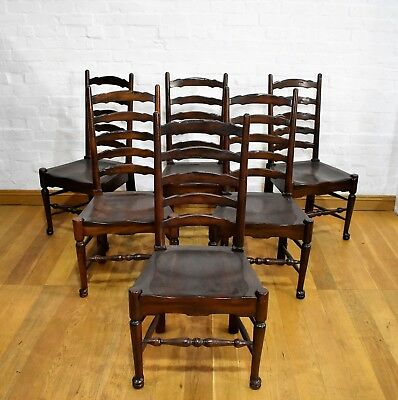 Antique style set of 6 good quality ladderback chairs