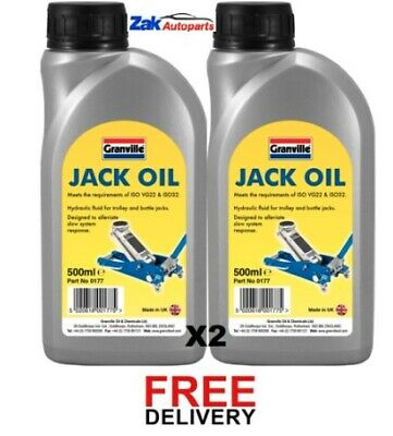 Granville Jack Oil Hydraulic Fluid Trolley Bottle Compression Fluid 500ml  X 2