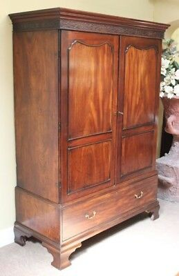 antique Georgian Mahogany Linen Press/WardrobeTwo doors with hanging interior,