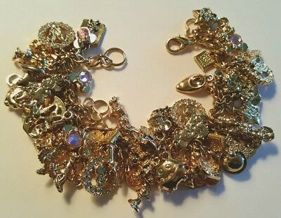 HTF! Vintage LOADED w/CHARMS~Disney MINNIE MOUSE 70th Anniversary Gold Bracelet