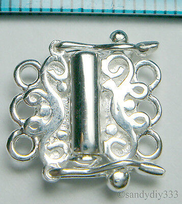 1x STERLING SILVER BRIGHT 3-STRAND FLOWER BOX CLASP 12mm #149