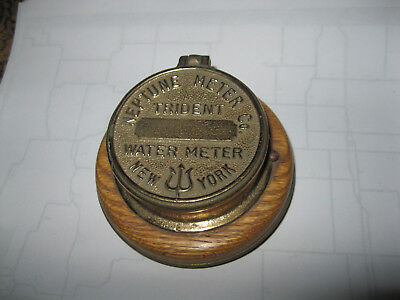 Vintage Brass Neptune Meter Co Trident numbered Water Meter  New York with clock