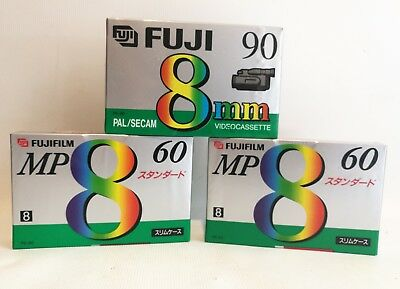 3 x New Fuji 8mm Camcorder Video Tape Cassette P5-90 and MP60