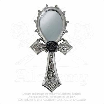 New Alchemy Vault Gothic Ankh Black Rose Poly Resin Hand Mirror V34