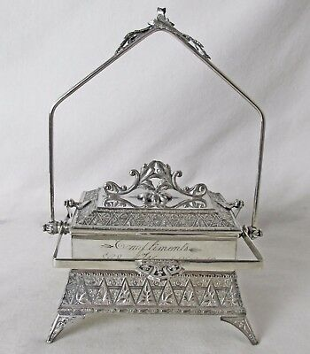 Rare Mechanical Silver Plated Jewelry Box / Casket Wm Rogers & Son Pat 9/16/1879