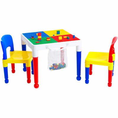 Tot Tutors Kids 2-in-1 Table & 2 Chairs with 100 Building Block Starter Kit NEW