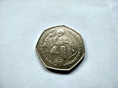 GB/UNITED KINGDOM 50p ISLE OF MAN 'TT MOTORBIKES'!!! Sehr gut!!!