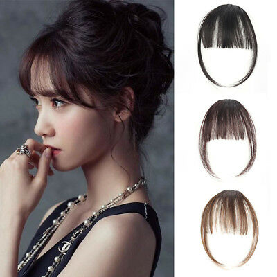 Women Hair Thin Neat Air Bangs Clip In Korean Fringe Front Invisible Hairpiece