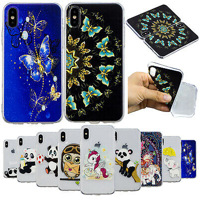 Clear Cute Panda Soft Silicone Case TPU Phone Cover for iPhone XS Max XR 7 8 6s