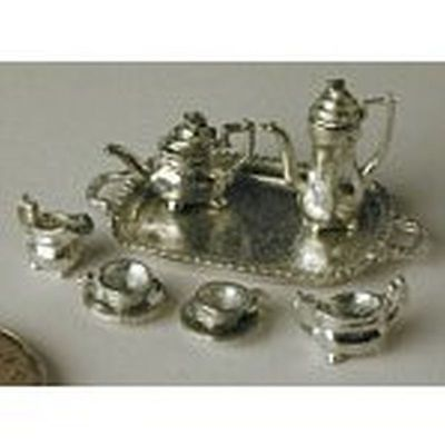 Dollhouse Miniature 1:24 Scale Polished White Metal Tea Set