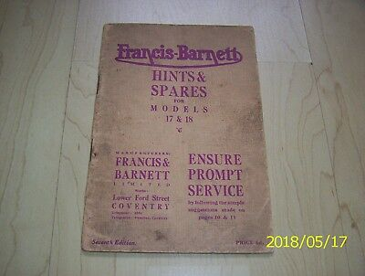 Francis Barnett Motorcycles 1931 hints and spare parts book model 17 18