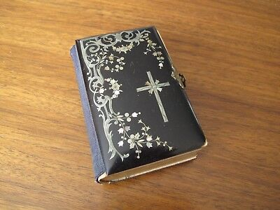 ANTIQUE Key of Heaven PRAYER BOOK 1884 Celluloid Inlaid Silver Mother of Pearl