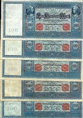 LOT OF 5 Germany 100 marks 1910, P#- 42 RED STAMP, BANKNOTES.
