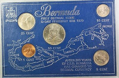 1970 Bermuda 4 Coin Brilliant Uncirculated Map Coin Set 50 25 10 5 and 1 Cent