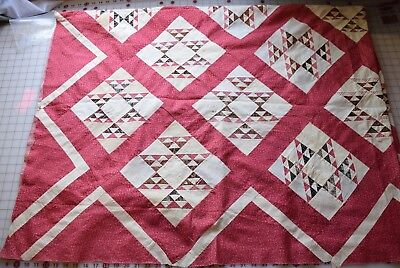 6349bAntique 1870-80's Quilt top, Flying Birds, fabulous madder red, double pink