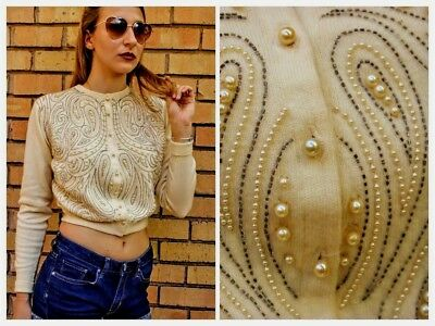 Exquisite OLDER Late 40s/Early 50s Vtg Pearl & Beaded Cardigan Wool Sweater XS/S