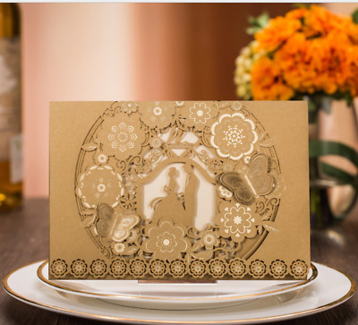 Gold Personalized 3d Butterfly Wedding Invitations Cards