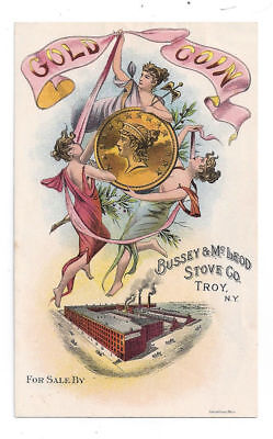 Gold Coin, Bussey & McLeod Stove Co., Troy, NY- Advertising Trade Card