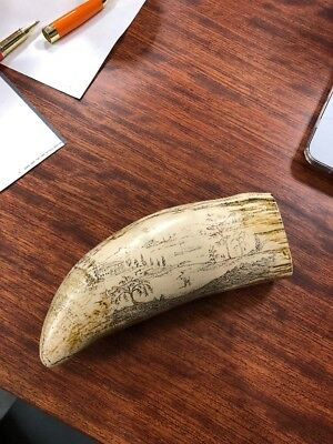"SCRIMSHAW SPERM WHALE RESIN REPLICA TOOTH  "" Asian Design "" GREAT DETAILS 6.5"""