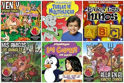 6 used SPANISH LANGUAGE KIDS CDs LOT educational/learning/fun songs for children