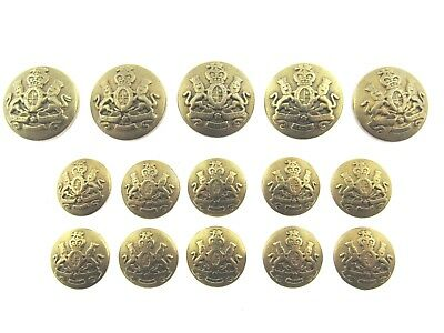 A Set of Military Metal Brass Look Buttons of the Realm / 2 Lions & Shield