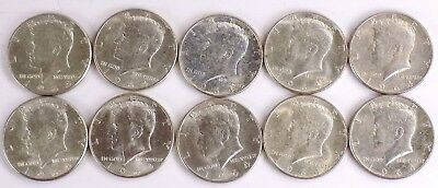 Lot Of 10 1964 Kennedy 90% Silver Half-Dollars Free S/h #2869