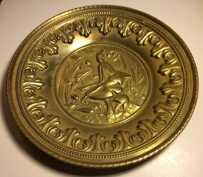"""12"""" HAMMERED BRASS REPOUSSE Fairy Faerie WALL PLATE CHARGER TRAY MADE IN ENGLAND"""
