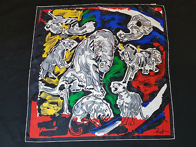 Vintage Signed 1991 Hand Painted Hand Rolled Swiss Made 100% Silk Scarf