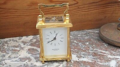 David Peterson Heavy Flat Brass 8 Day Mechanical Carriage Clock