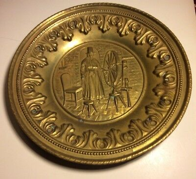 """12"""" Hammered Brass Repousse' Wall Plate Charger Tray Made In England"""