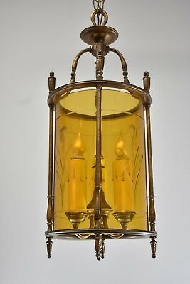 Vintage Brass Hall Chandelier Light Fixture Amber Cylinder Etched Floral Details