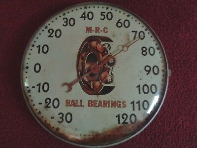 Vintage RARE HTF M-R-C BALL BEARINGS  advertising thermometer sign  gas station