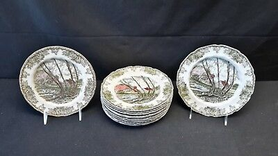 Johnson Brothers Friendly Village Willow By The Brook Set of 12 Salad Plates