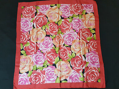 Beautiful Unbranded Multicolour Floral Roses Motif Hand Rolled 100% Silk Scarf