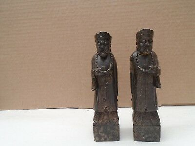 "pair of old chinese hardstone immortals   unusual signed 5.75"" display statues"