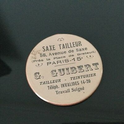 Miroir Publicitaire Guibert Tailleur Ave. Saxe A Paris Vintage Advertising Miror