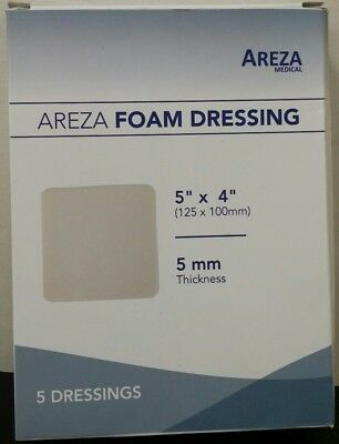 Areza Medical Foam 5 Dressings 5 x 4, 5 mm Thickness *NEW