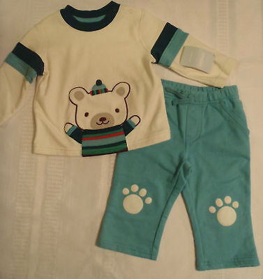 Gymboree Snow Bear Baby Boys 0-3 Month Pant Long Sleeve Shirt Outfit NWT