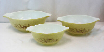 Set of 3 Vintage Pyrex Forest Fancies Mushroom Cinderella Mixing Bowls
