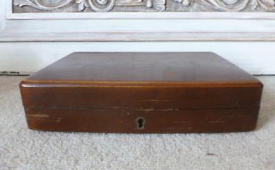 """Antique Vintage Wooden Stained Oak Brass Small 9 1/2"""" Cutlery Box  c1900"""
