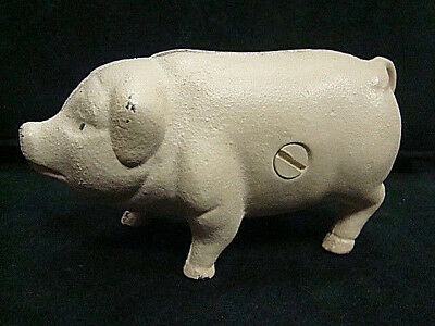 "Vintage Small Cast Iron White PIG Piggy Bank 4.5""L and 2.5""H"