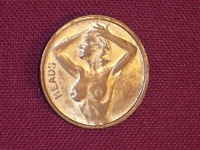 Vintage Heads Tails Coin Token Nude Woman Risque Coin Toss