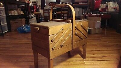 Vintage Wooden Accordian Style Sewing Box
