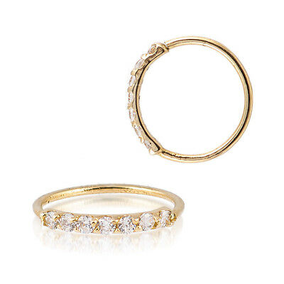Sterling Silver 925 Gold Plated 7 CZ Accent Hoop Helix Tragus Nose Ring 20G