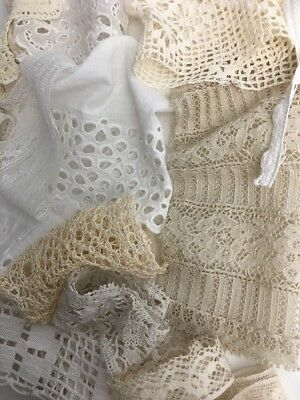 Lot of Antique Vintage Lace  Trims Scraps Rescued Salvage Estate Plus Ribbon