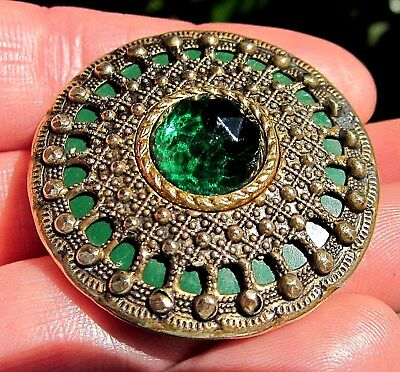 Large Antique CELLULOID Brass, FACETED Glass EMERALD STONE, Gay 90's Button