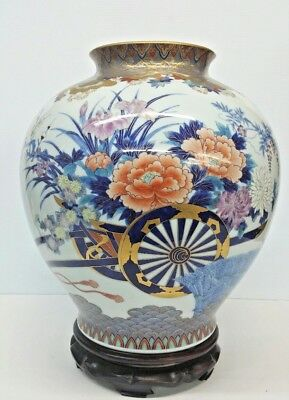 Antique Hand Painted Enamel Japanese Fukagawa Porcelain Jar With Wood Stand